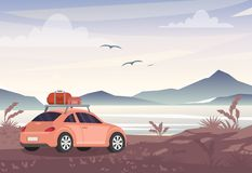 Vector illustration of car with travel bags near lake and mountains. Road trip, vacation concept in flat style. vector illustration