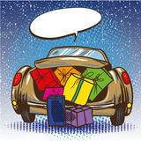 Vector illustration of car trunk with gifts, pop art style Royalty Free Stock Photography