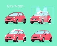 Vector illustration of car wash concept. Washing car process service, red car in soap and water on green background in royalty free illustration