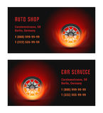 Vector Illustration Car Wheel with Fire. Vector Card car wheel with fire. Template for Auto Shop and Car Service Stock Photos