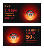 Vector Illustration Car Wheel with Fire. Vector Card car wheel with fire. Template for Car Service and Gift Card Royalty Free Stock Photos