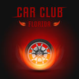 Vector Illustration Car Wheel with Fire. Template for Car Club Royalty Free Stock Image