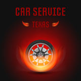 Vector Illustration Car Wheel with Fire. Template for car service Royalty Free Stock Images