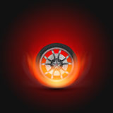 Vector Illustration Car Wheel with Fire. Template for car service, drift club and garage Stock Photography