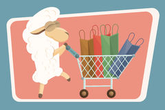 Vector illustration. Card with baby lamb and shopping bags. Stock Image