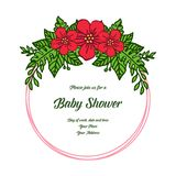 Vector illustration card baby shower for frame flower red and leaves green stock illustration
