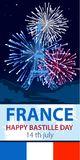 Vector illustration,card,banner or poster for the French National Day.Happy Bastille Day. 14 july vector illustration