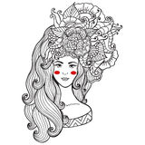 Vector illustration  card  beauty and fashion. Girl with flowers on her head. Zentangl, dudling. Adult coloring books. Royalty Free Stock Photos