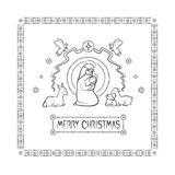 Vector illustration card of the Christian holiday of Christmas. Holy virgin Mary with the infant Jesus in her arms, and Stock Images