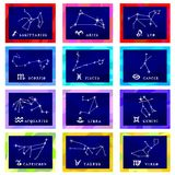 Vector illustration card constellations of the zodiac Stock Image