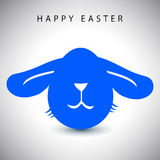 Vector illustration card of easter blue long-eared rabbit egg with white nose Stock Photography