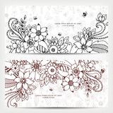 Vector illustration of card with floral banners Zen Tangle, doodling. Stock Photo