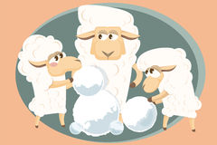 Vector illustration. Card with  lamb family. Stock Photos
