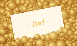 Vector illustration of card placed in golden pearls or spheres. Volumetric randomly distributed balls. Royalty Free Stock Photography