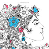 Vector illustration card the profile of a girl with flowers Stock Photography