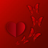 Vector illustration card of red heart and butterflies for Valentine's Day Royalty Free Stock Images