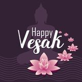 Vector illustration card for Vesak day. Pink lotus flower with buddhas silhouette royalty free illustration