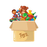 Vector illustration of cardboard box for children toys. Royalty Free Stock Photo