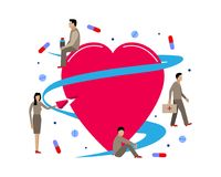 Vector illustration for cardiology. Little men treat heart tablets Stock Photography
