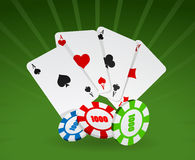 Vector illustration of cards and chips Royalty Free Stock Images