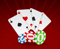 Vector illustration of cards and chips Royalty Free Stock Image