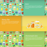 Vector illustration. Cards with jars of honey juice and jam Stock Photos