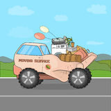 Vector illustration of a caring, nurturing moving to a new location on the hand-truck. Stock Photos