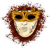 Vector illustration of carnival golden mask for theater and festivals, colorful bright Venetian mask decorated with vector illustration