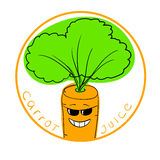 Vector illustration carrot cartoon character in a round frame with handwritten words Carrot Juice Stock Images