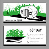 Vector illustration of cars Recreational Vehicles Camper Vans Ca. Vector illustration of Bussines card, flyer, leaflet with cars Recreational Vehicles Camper Royalty Free Stock Images