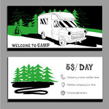 Vector illustration of cars Recreational Vehicles Camper Vans Ca. Vector illustration of Bussines card, flyer, leaflet with cars Recreational Vehicles Camper Royalty Free Stock Photography