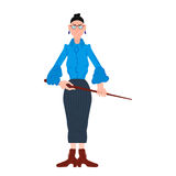 Vector illustration of cartoon angry teacher in a blue blouse with  pointer Royalty Free Stock Photography