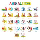 Vector Illustration Of Cartoon Animals Font. Eps 10 vector illustration