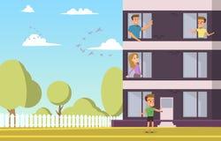 Vector Illustration Cartoon Apartment For Sale vector illustration