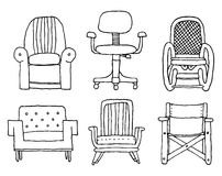 Cartoon armchairs set Royalty Free Stock Photos