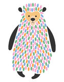 Vector illustration of a cartoon bear. Stylized grizzly. Art for children. Animal from geometric figures. Forest dweller Stock Photos