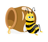 Vector illustration of cartoon bee sitting about h Stock Photos