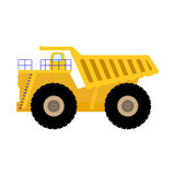 Vector illustration cartoon big heavy dump truck. Vector illustration of cartoon big heavy dump truck. Isolated on white background. Flat style. Icon yellow Royalty Free Stock Photography