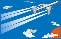Vector illustration of cartoon big plane. Vector illustration of cartoon big airplane with trace in sky, (for postcard vector illustration
