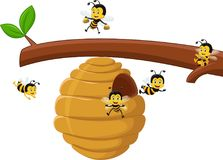 Illustration of Cartoon branch of a tree with a beehive and a bee. Vector illustration of Cartoon branch of a tree with a beehive and a bee stock illustration