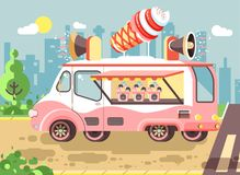 Vector illustration cartoon car with refrigeration unit, truck for sale and manufacture ice cream, vanilla, chocolate. Stock vector illustration cartoon car with Royalty Free Stock Image