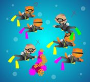 Vector illustration of cartoon cats scuba diver. Correct and incorrect diving. Can be used to instructions for novice divers Royalty Free Stock Image