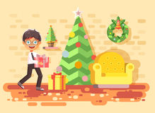 Vector illustration cartoon character child brunette boy, schoolboy bring gift  Royalty Free Stock Photography