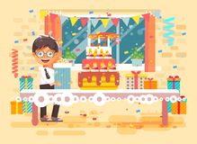 Vector illustration cartoon character child lonely brunette boy celebrate  Royalty Free Stock Photography