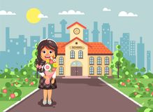 Vector illustration cartoon character child lonely brunette schoolgirl, pupil, student standing with bouquet flowers in Royalty Free Stock Photos