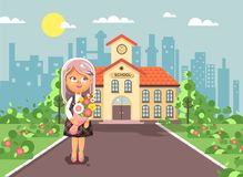 Vector illustration cartoon character child lonely girl schoolgirl, pupil, student standing with bouquet flowers in Royalty Free Stock Image