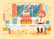 Vector illustration cartoon character child lonely redhead boy celebrate happy birthday. Stock vector illustration cartoon character child lonely redhead boy Royalty Free Stock Photography