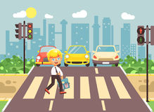Vector illustration cartoon character child, observance traffic rules, lonely blonde boy schoolchild schoolboy go to. Stock vector illustration cartoon character Royalty Free Stock Photos