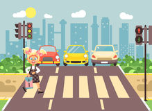 Vector illustration cartoon character child, observance traffic rules, lonely blonde girl schoolchild schoolgirl go to. Stock vector illustration cartoon Stock Images