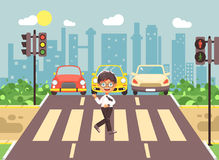 Vector illustration cartoon character child, observance traffic rules, lonely brunette boy schoolchild schoolboy go to. Stock vector illustration cartoon Royalty Free Stock Image